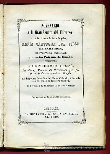 LIBRO, NOVENARIO SRA DEL UNIVERSO, MARIA SANTISIMA DEL PILAR ZARGOZA, 1862 , ORIGINAL (Libros Antiguos, Raros y Curiosos - Religión)