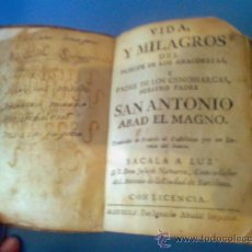 Libros antiguos: VIDA Y MILAGROS... SAN ANTONIO ABAD, EL MAGNO - R. JOSEPH NAVARRO S. XVII-XVIII. Lote 33027990