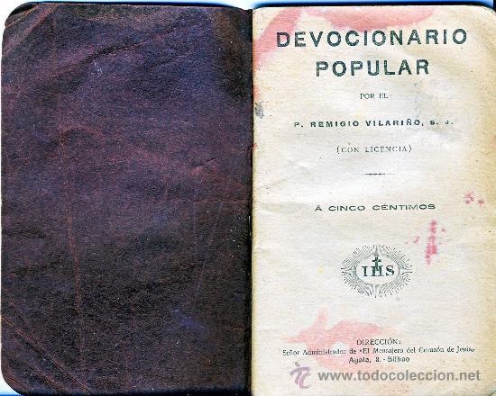 DEVOCIONARIO POPULAR.- POR EL P. REMIGIO VILARIÑO, S.J.- (Libros Antiguos, Raros y Curiosos - Religión)