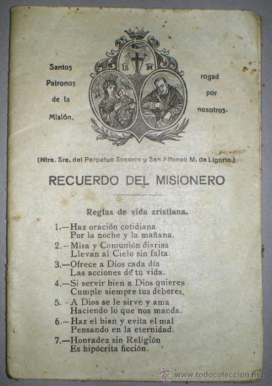RECUERDO DEL MISIONERO. (Libros Antiguos, Raros y Curiosos - Religión)