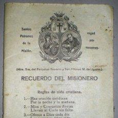 Libros antiguos: RECUERDO DEL MISIONERO.. Lote 34670111