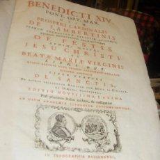 Libros antiguos: BENEDICTI XIV PONT OPT MAX OLIM PROSPERI CARDENALIS DE LAMBERTINIS, TIP. BASSANENSI 1766. Lote 35078067