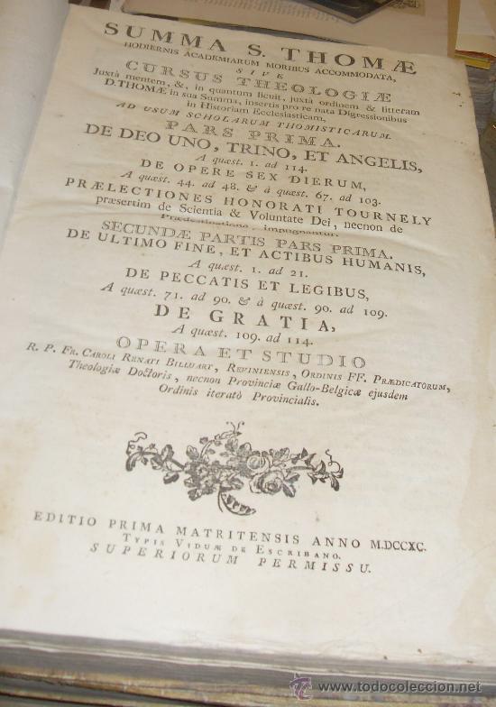 Libros antiguos: SUMMA S.THOME, CURSUS THEOLOGIAE, 3 TOMOS, EDITIO PRIMA MATRITENSIS ANNO 1790,TYPIS VIDUAE ESCRIBANO - Foto 2 - 35078809