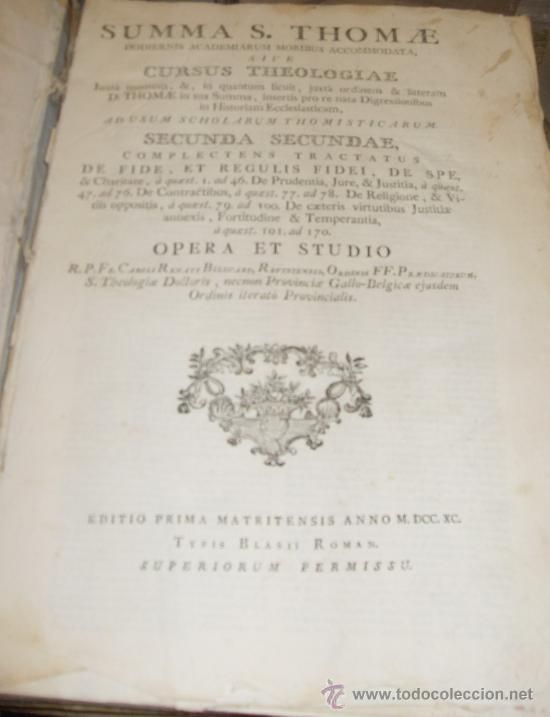 Libros antiguos: SUMMA S.THOME, CURSUS THEOLOGIAE, 3 TOMOS, EDITIO PRIMA MATRITENSIS ANNO 1790,TYPIS VIDUAE ESCRIBANO - Foto 4 - 35078809