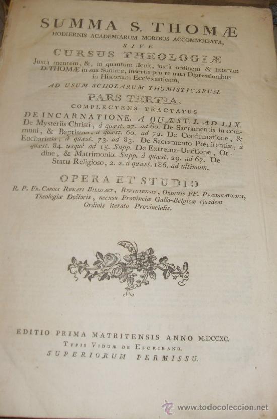 Libros antiguos: SUMMA S.THOME, CURSUS THEOLOGIAE, 3 TOMOS, EDITIO PRIMA MATRITENSIS ANNO 1790,TYPIS VIDUAE ESCRIBANO - Foto 5 - 35078809