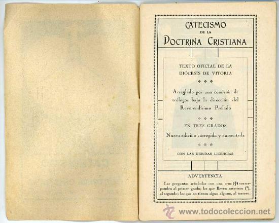Libros antiguos: CATECISMO DE LA DOCTRINA CRISTIANA PARA LA DIOCESIS DE VITORIA AÑOS 30 PORTADA DE JON ZABALO TXIKI - Foto 2 - 35463151