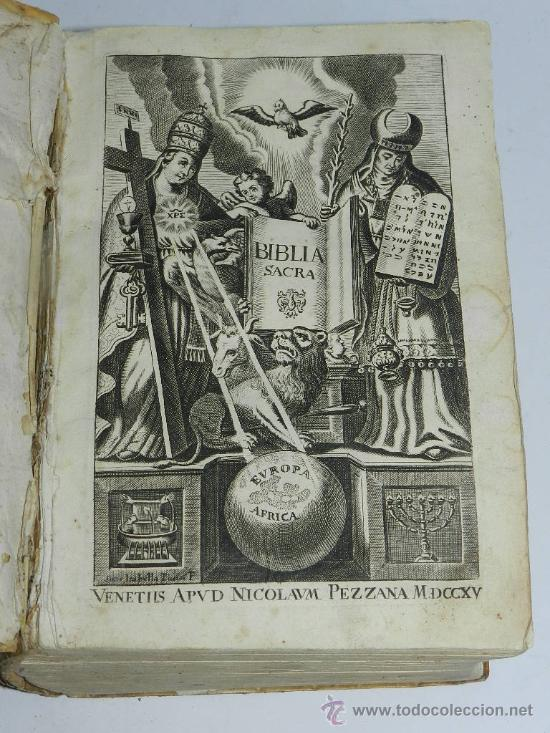 AÑO DE 1754 VULGATAE EDITIONIS. SIXTI V. & CLEM. VIII. PONT. MAX. VENETIIS, NICOLAUM PEZZANA, (Libros Antiguos, Raros y Curiosos - Religión)