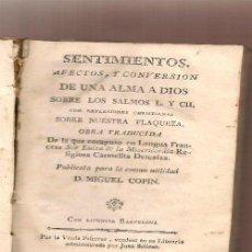 Libros antiguos: SOR LUISA DE LA MISERICORDIA,,SENTIMIENTOS AFECTOS Y CONVERSION DE UN ALMA A DIOS ...NINC. Lote 37121725