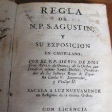 Libros antiguos: REGLA DE SAN AGUSTIN. MADRID: POR ANTONIO DE SANCHA 1781. PERGAMINO. Lote 38350582