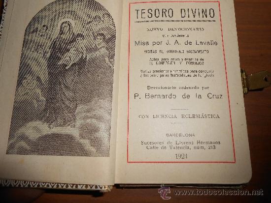 Libros antiguos: tesoro divino nuevo devocionario que contiene la misa por j.a de lavalle barcelona 1924 - Foto 2 - 39059938