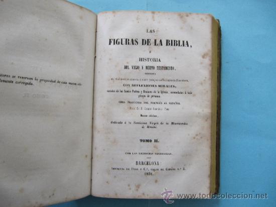 Libros antiguos: LAS FIGURAS DE LA BIBLIA O HISTORIA DE VIEJO O NUEVO TESTAMENTO. 2 TOMOS. IMPRENTA DE PONS, 1852. - Foto 3 - 39295902