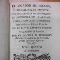 Libros antiguos: EL PECADOR SIN ESCUSA, 1778, DOCTOR D. DOMINGO. Lote 39705346