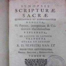 Libros antiguos: SYNOPSIS SCRIPTURAE SACRAE, 1771, R.D.SILVESTRI VAN EY. Lote 39746668