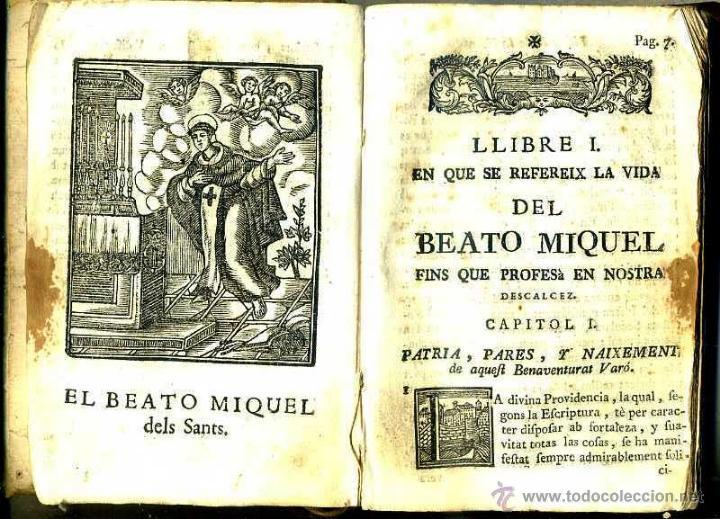 VIDA DEL BEATO MIQUEL DELS SANTS (VICH, 1780) PERGAMINO (Libros Antiguos, Raros y Curiosos - Religión)