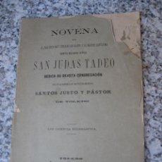 Libros antiguos: TOLEDO 1895 - NOVENA A SAN JUDAS TADEO.. Lote 40328439