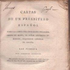 Libros antiguos: ASTENGO, LORENZO: CARTAS DE UN PRESBITERO ESPAÑOL. 1798. Lote 41487777