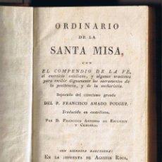 Libros antiguos: ORDINARIO DE LA SANTA MISA - AMADO POUGET - 1817 - FOTO ADICIONAL. Lote 42120107