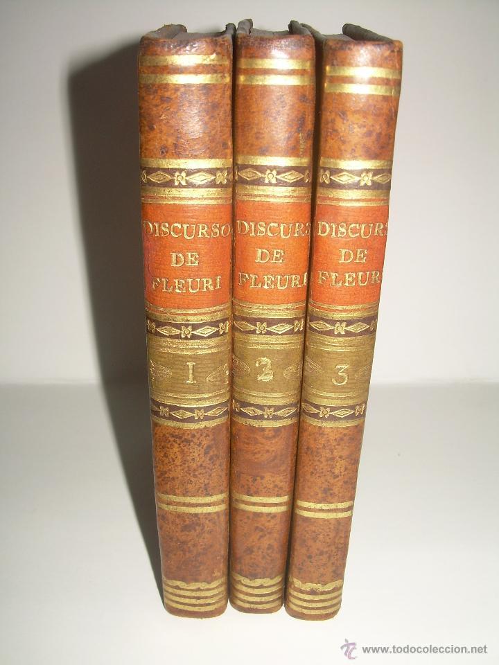 DISCURSOS...POR FLEURY......AÑO...1.813...TRES TOMOS DE TAPAS DE PIEL. (Libros Antiguos, Raros y Curiosos - Religión)