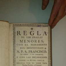 Libros antiguos: 1734 - REGLA DE LOS FRAYLES MENORES ... SAN FRANCISCO NICOLAS III CLEMENTE V - IMPECABLE ESTADO.. Lote 42318412