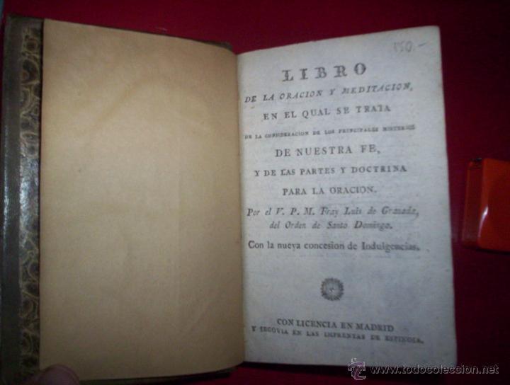 RELIGION FR LUIS DE GRANADA LIBRO DE ORACION Y MEDITACION MADRID SEGOVIA ESPINOSA 1802 GRABADOS PIEL (Libros Antiguos, Raros y Curiosos - Religión)