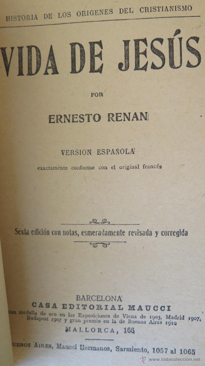 Libros antiguos: 190?.- VIDA DE JESUS. ERNESTO RENAN - Foto 2 - 44374784
