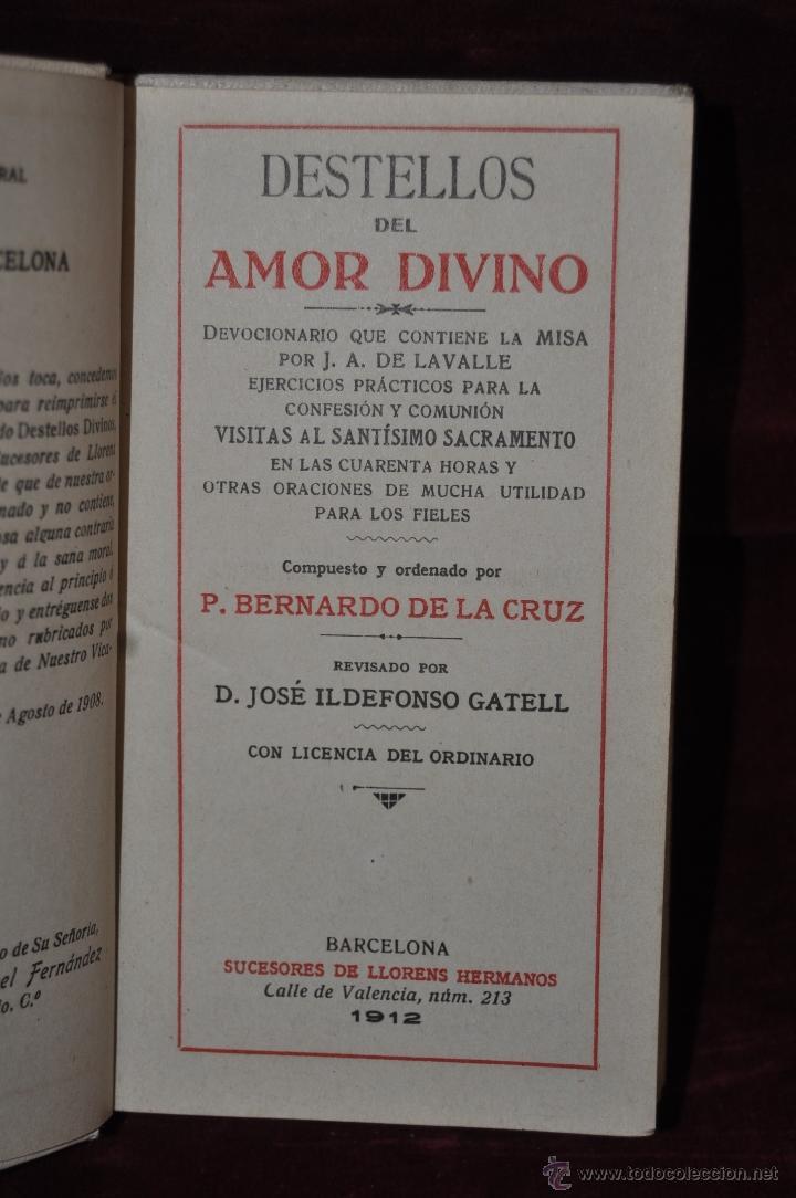 Libros antiguos: DESTELLOS DEL AMOR DIVINO. DEVOCIONARIO DEL AÑO 1912. ED. LLORENS HERMANOS - Foto 3 - 44464762