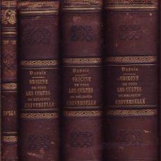 Libros antiguos: ORIGINE DE TOUS LES CULTES OU RELIGION UNIVERSELLE. PAR DUPUIS, CITOYEN FRANÇOIS.. Lote 45017656