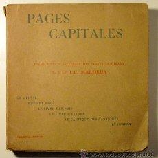 Libros antiguos: PAGES CAPITALES. LA GENÈSE. RUTH ET BOOZ - ETC. - J.C. MARDRUS - FASQUELLE 1931. Lote 29468101