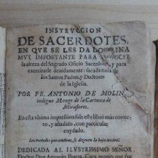 Libros antiguos: LIBRO DE 1672. INSTRUCCION DE SACERDOTES EN QUE SE LES DA DOCTRINA MUY IMPORTANTE. ANTONIO DE MOLINA. Lote 46313358