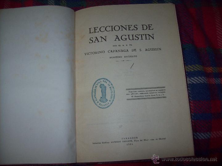 LECCIONES DE SAN AGUSTÍN + NOCIONES FUNDAMENTALES DE MÍSTICA. 1931 Y 1941. TODO UNA JOYITA.VER FOTOS (Libros Antiguos, Raros y Curiosos - Religión)