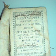 Libros antiguos: 1720 - FRAY DIEGO DE ESTELLA - MEDITACIONES DEVOTISIMAS DEL AMOR DE DIOS - RARA EDICIÓN. Lote 48666144
