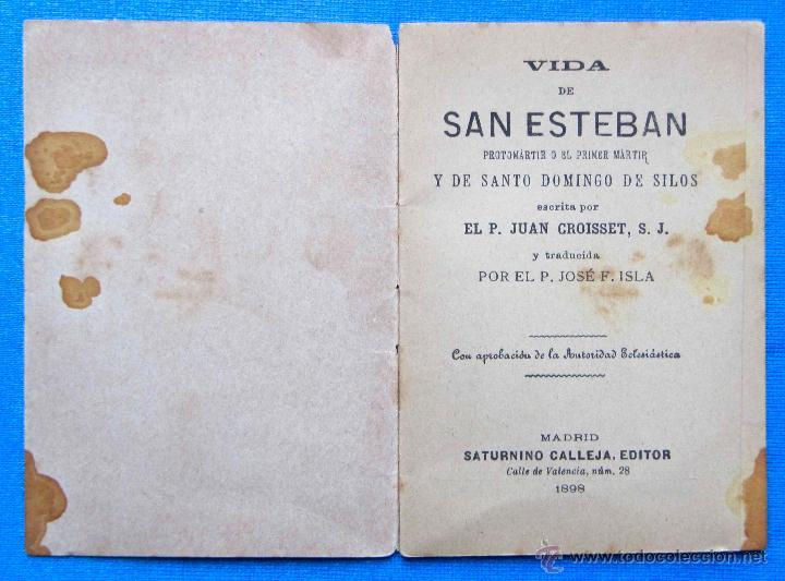 Libros antiguos: VIDA DE SN. ESTEBAN. FLORES CELESTES 29. CALLEJA - Foto 3 - 49304119