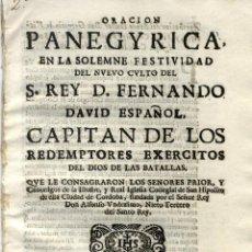 Libros antiguos: [CÓRDOBA. SAN FERNANDO III] ESCUDEROS, PEDRO DE LOS. (S.I.) ORACIÓN PANEGYRICA... 1671.. Lote 50437416