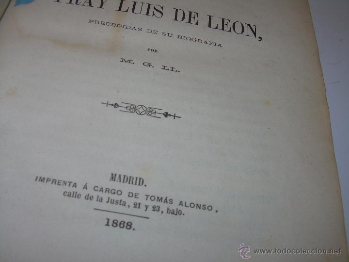 Libros antiguos: LIBRO TAPAS DE PIEL...OBRAS SELECTAS DE ...FRAY LUIS DE LEON......AÑO..1.868 - Foto 2 - 50622905