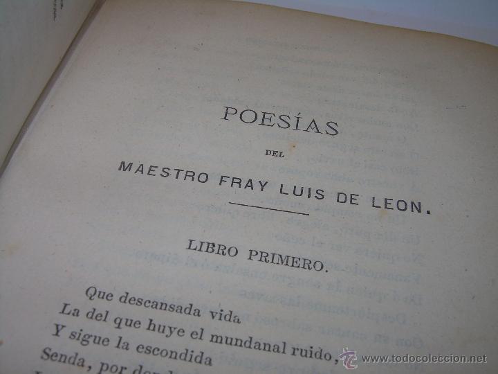 Libros antiguos: LIBRO TAPAS DE PIEL...OBRAS SELECTAS DE ...FRAY LUIS DE LEON......AÑO..1.868 - Foto 7 - 50622905