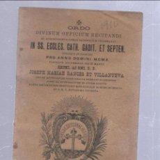 Libros antiguos: CADIZ. CATEDRAL GADITANA. RITO PARA EL AÑO 1910 POR MESES. RANCES Y VILLANUEVA. GABIDUS. EN LATIN. Lote 50680225