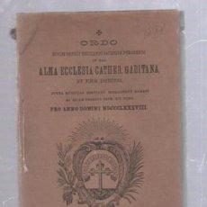 Libros antiguos: CADIZ. CATEDRAL GADITANA. RITO PARA EL AÑO 1888 POR MESES. GABIDUS. FEDERICO JOLY. 75 PAG. EN LATIN. Lote 50680256