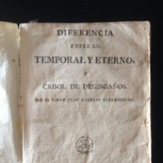 Libros antiguos: LIBRO DIFERENCIA ENTRE TEMPORAL Y ETERNO, POR PADRE JUAN EUSEBIO NIEREMBERG ,EDICION BARCELONA 1792. Lote 50753388