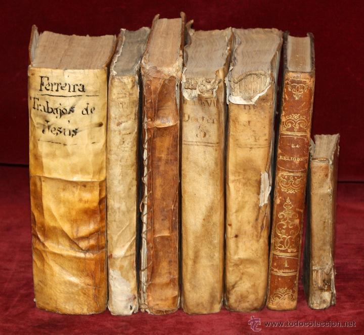LOTE DE 6 LIBROS ANTIGUOS DEL SIGLO XVIII, 5 DE ELLOS EN PERGAMINO (Libros Antiguos, Raros y Curiosos - Religión)