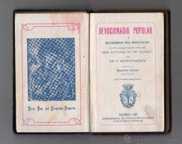 DEVOCIONARIO POPULAR RECUERDO DEL MISIONERO, MADRID 1924 (Libros Antiguos, Raros y Curiosos - Religión)