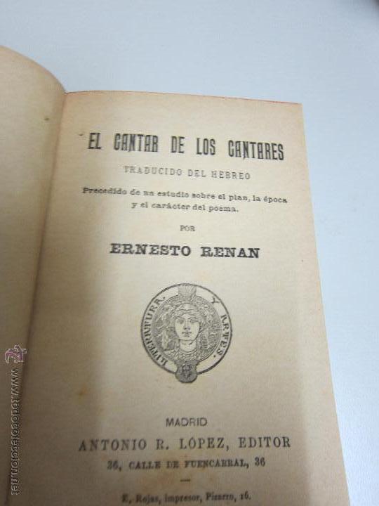 RENAN . ERNESTO, EL CANTAR DE LOS CANTARES , (Libros Antiguos, Raros y Curiosos - Religión)