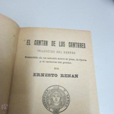 Libros antiguos: RENAN . ERNESTO, EL CANTAR DE LOS CANTARES ,. Lote 52310608
