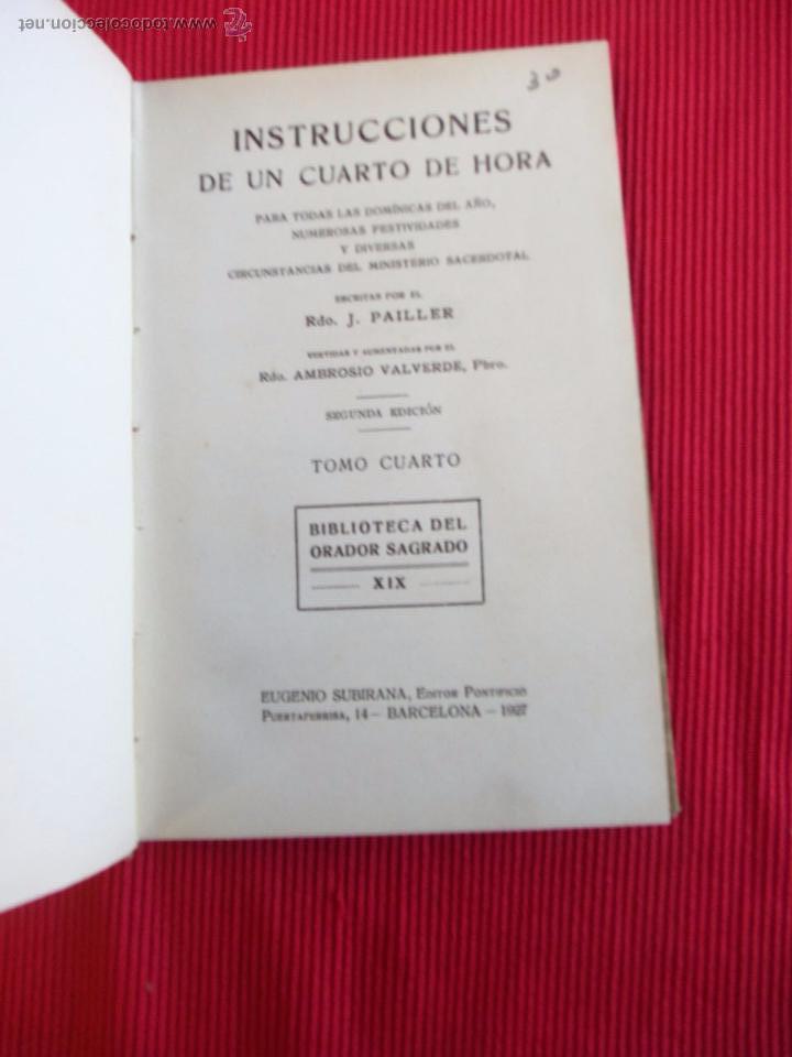 Libros antiguos: INSTRUCCIONES DE UN CUARTO DE HORA - J. PAILLER - Foto 4 - 52384924
