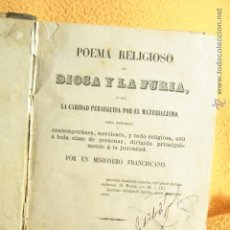 Libros antiguos: 1863, POEMA RELIGIOSO, LA DIOSA Y LA FURIA, PRIMERA EDICIÓN. RARO. Lote 52420776