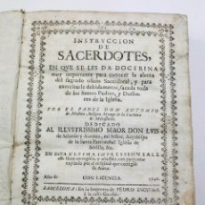 Libros antiguos: INSTRUCCIÓN DE SACERDOTES, ANTONIO MOLINA. BARCELONA, 1746. 16X20 CM.. Lote 52941683