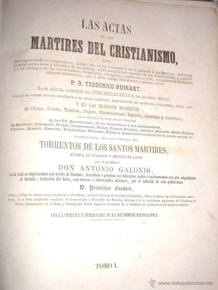 Libros antiguos: actas de los martires del cristianismo / Teodorico Ruinart. Antonio Galonio / 1864 - Foto 6 - 52960285