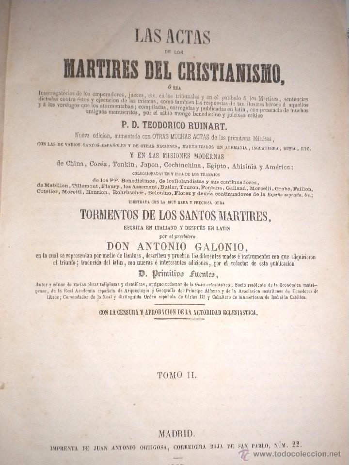 Libros antiguos: actas de los martires del cristianismo / Teodorico Ruinart. Antonio Galonio / 1864 - Foto 11 - 52960285