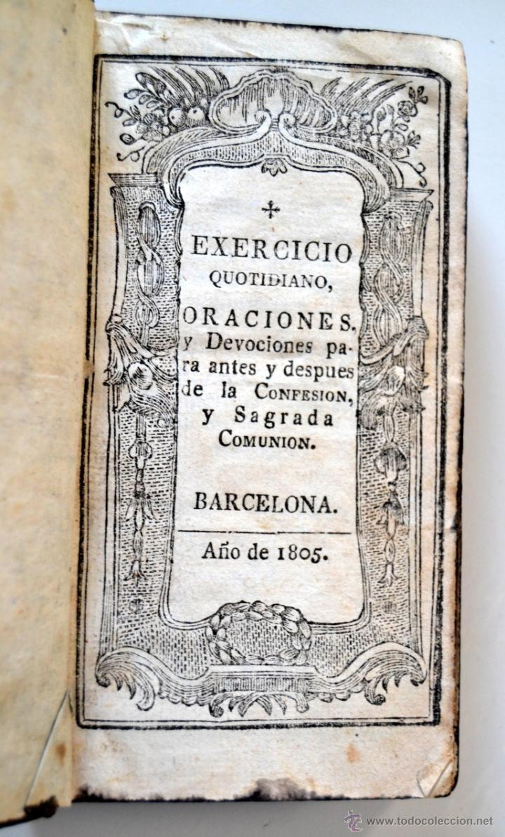Libros antiguos: * Barcelona año 1805 - s.XIX * Exercicio Quotidiano ... Sagrada Comunion * Mas de 30 Grabados * - Foto 3 - 53259181