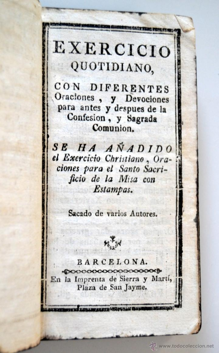 Libros antiguos: * Barcelona año 1805 - s.XIX * Exercicio Quotidiano ... Sagrada Comunion * Mas de 30 Grabados * - Foto 4 - 53259181