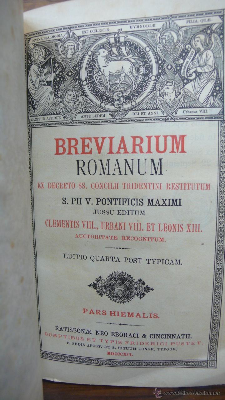 Libros antiguos: BREVIARIUM ROMANUM EX DECRETO SS. CONCILII TRIDENTINI... 4 OBRAS EN 1 VOL. 1891. - Foto 3 - 53746646